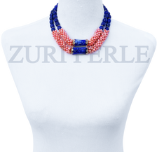 Women Handcrafted Pink Jadeite Lapis Necklace Made in America - OGU