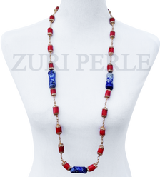 Women Handcrafted Red Coral Lapis Necklace Made in America - OSA