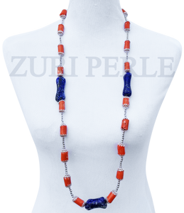 Women Handcrafted Orange Coral Lapis Necklace Made in America - OSA