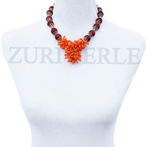 Women Handcrafted Orange Coral Red Coral Necklace Made in America - OREN