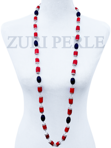 Women Handcrafted Red Coral Lapis Necklace Made in America - IRE