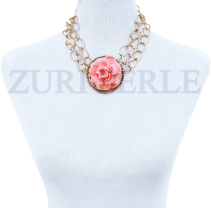 Women Handcrafted Peach Coral Necklace Made in America - EDE