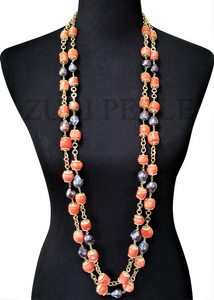 PEMI  - Women Handcrafted Orange Coral and Baroque Peacock  Pearl  Necklace Made in America