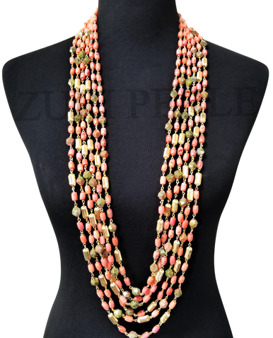 SILE  - Women Handcrafted Unakite Coral  Necklace Made in America