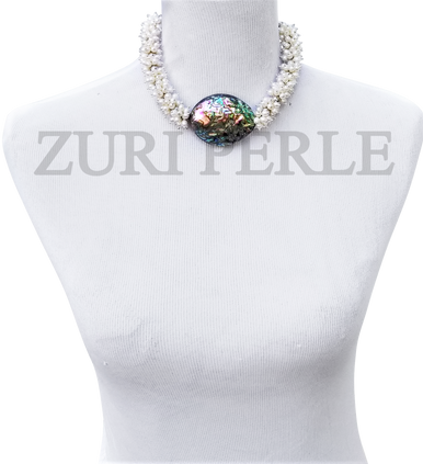 Women Handcrafted Pearl Abalone Necklace Made in America