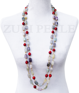 ERE - Women Handcrafted Fluorite Coral  Necklace Made in America