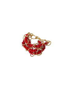 IRE  - Women Handcrafted Red Coral Bracelet Made in America