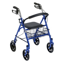 "Durable 4 Wheel Rollator with 7.5"" Casters 10257BL-1"
