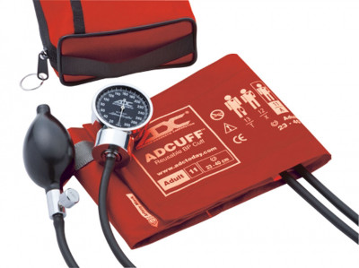 ADC Diagnostix 703 Palm Aneroid  Sphygmomanometer Model ADC778-11AR Color red