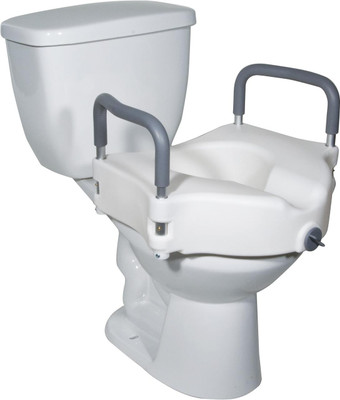 Drive Medical 2-in-1 Locking Raised Toilet Seat with Tool-free Removable Arms