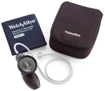 Welch Allyn platinum DS58 hand aneroid sphygmomanometer adult cuff with nylon zipper case