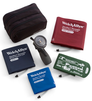 Welch Allyn Gold Series DS66 family practice Trigger Aneroid sphygmomanometer kit and Nylon Zipper Case