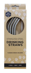 Stainless Steel Drinking Straws- 4pk + Brush
