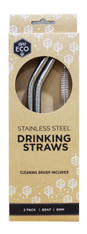 Stainless Steel Drinking Straws- 2pk + Brush