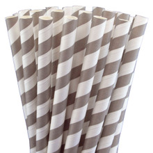 "7.75"" Milkshake Grey Striped Paper Straws"