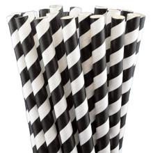 """7.75"""" Milkshake Black Striped Paper Straws"""
