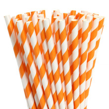 Paper Straws - Bright Orange Stripes