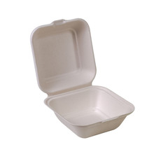 "Compostable Sugarcane Clamshell - 5"" x 5"" - Case of 500"