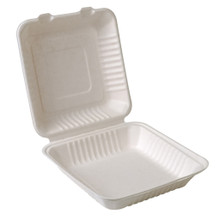 "Compostable Sugarcane Clamshell - 9"" x 9"" - Case of 200"