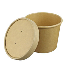 Kraft Paper Food Container with Paper Lid - 12oz - Case of 500
