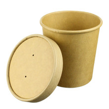 Kraft Paper Food Container with Paper Lid - 16oz - Case of 500