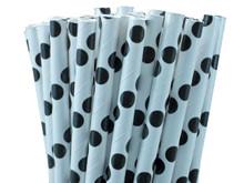 Black Polka Dot Paper Straws