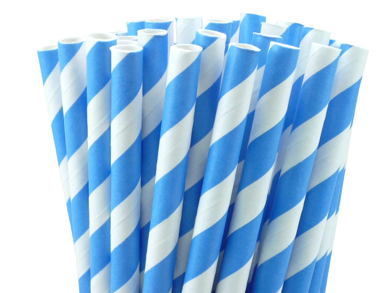 Paper Straws European Blue Stripes
