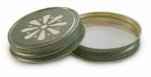 Daisy Mason Jar Lids - Antique Gold