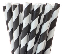 "5.5"" Cocktail Black Striped Paper Straws"