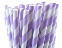 Lavender Striped Paper Straws