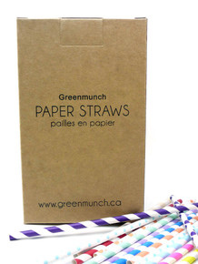 "7.75"" Printed Standard Paper Straws - Case of 9600"