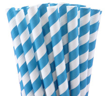 "7.75"" Milkshake Turquoise Blue Striped Paper Straws"