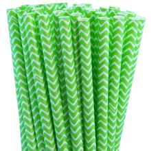 Paper Straws - Jasmine Green Chevron