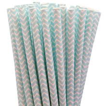 Paper Straws - Baby Blue Chevron