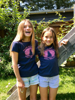 Girls Navy/Pink Short Sleeve Logo Tee