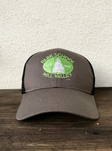 Charcoal hat with green embroidered logo and adjustable mesh backing