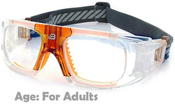 Adult Sports Goggles BL018 Clear / Orange 140mm Frame Width