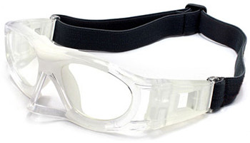 (1) Adults Prescription Sports Goggles BL013 in Clear with White Color Scheme 135mm Frame Width