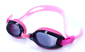 (1) Pink Kids Prescription Swim Goggles with Farsight Correction (Dark Grey Tinted Lenses)