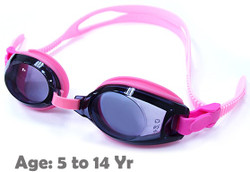 Pink Kids Prescription Swim Goggles with Premade Fixed Power Lenses (Dark Grey Tinted Lenses)
