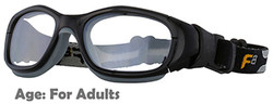Rec Specs F8 Slam Goggle XL in Shiny Black/Grey - 55 Eye Size - Suitable for Adults