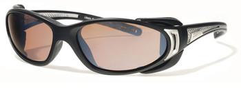(1) Liberty Sport CHOPPER Prescription Sports Sunglasses in Matte Black and Shiny Silver with Ultimate Driver Lens