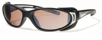 (1) Liberty Sport CHOPPER Prescription Sports Sunglasses in Matte Black and Shiny Silver with Ultimate Driver Lens