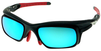 (1) F. Morys MS047 Black Sport Sunglasses with blue mirrored lenses