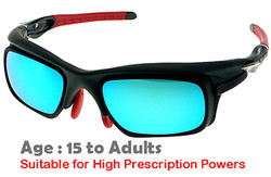 F. Morys MS047 Black Prescription Sports Sunglasses with blue mirrored lenses