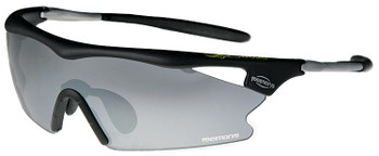(1) Black F Morys MS038 Rxable Sports Wrap Around Sunglasses with Grey Mirrored Lenses