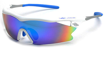 (1) F Morys MS038 Prescription Sports Sunglasses in White with Blue Mirrored Lenses