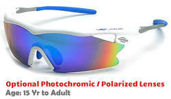 F Morys MS038 Rx-Able Sports Sunglasses - White with Blue Mirrored Lenses