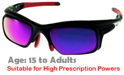 F. Morys MS047 Black Prescription Sports Sunglasses with Purple Mirrored Lenses