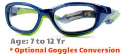 Rec Specs F8 Slam Kids Prescription Sports Glasses in Shiny Navy Green